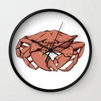 crab Wall Clocks featuring Crab by Nicole Cischke