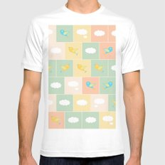 Clouds and birds White Mens Fitted Tee MEDIUM