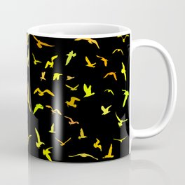 Seagulls gold silhouette on black background Coffee Mug