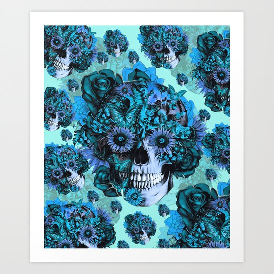 Full circle...Floral ohm skull pattern Art Print