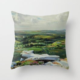 Pastoral Landscape, Rolling Green Hills, Vineyards, and Tartans of Fields by Lamorna Birch Throw Pillow