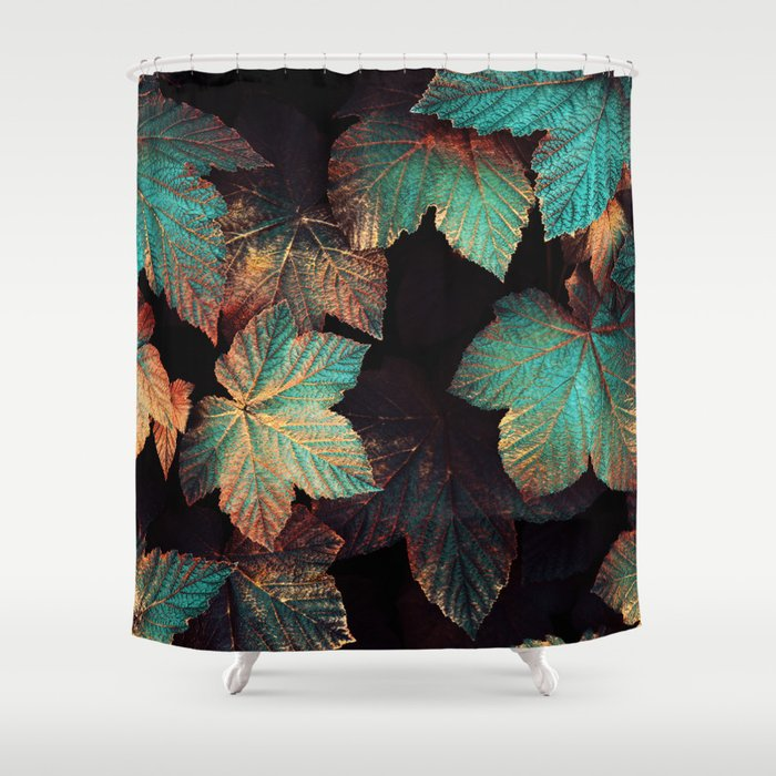 Copper And Teal Leaves Shower Curtain By