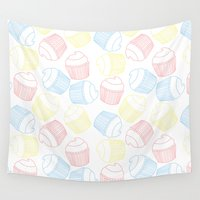 cupcakes Wall Tapestries featuring Cupcakes by Sara Showalter