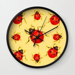 CREAMY YELLOW ART  RED LADY BUGS  DESIGN Wall Clock