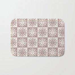Mid Century Modern Sun Pattern Beige Neutrals Bath Mat
