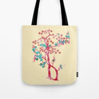 asian Tote Bags featuring Asian Tree by Mimi Matloob Designs