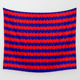 Australian Flag Blue and Red Shark Attack Stripes Wall Tapestry