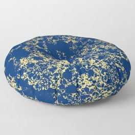 Navy Blue and Gold Patina Design Floor Pillow