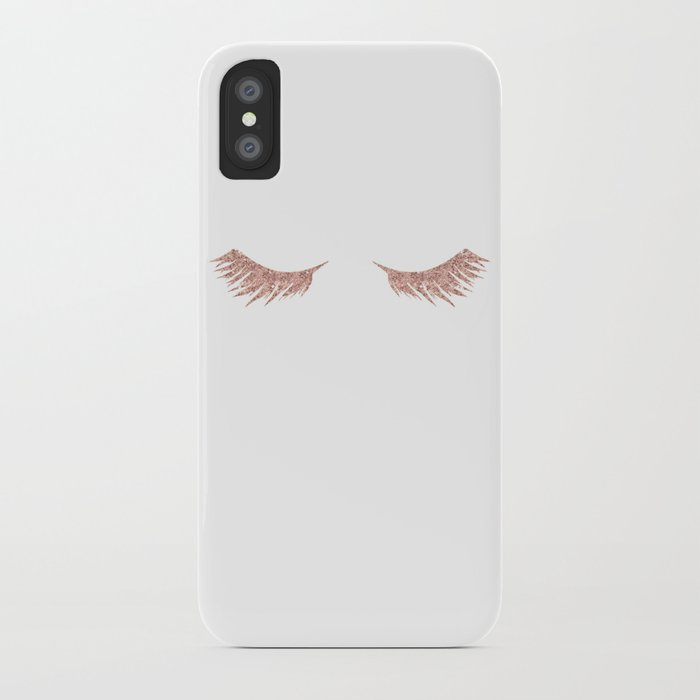 Pretty Lashes Rose Gold Glitter Pink iPhone Case