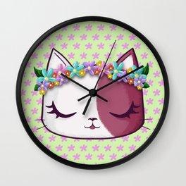 Flowers kitty Wall Clock