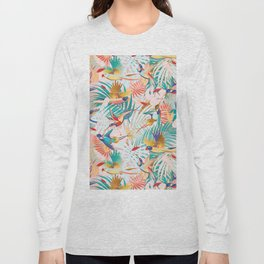 Colorful, Vibrant Paradise Birds and Leaves Long Sleeve T-shirt