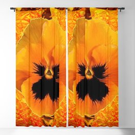 Amber colored abstract art of yellow spring pansy on gold Blackout Curtain
