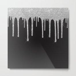 Black & Silver Glitter Drips Metal Print