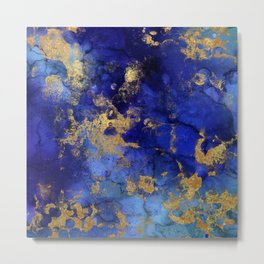 Gold And Blue Indigo Malachite Marble Metal Print