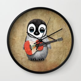 Baby Penguin Playing Peruvian Flag Acoustic Guitar Wall Clock