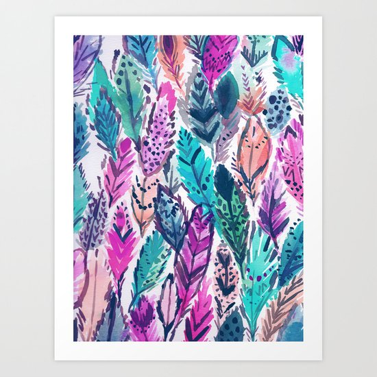 WILD FEATHERS Boho Watercolor Art Print