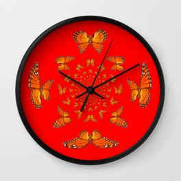 CHINESE RED MONARCH BUTTERFLIES MATING DANCE Wall Clock