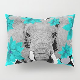 ELEPHANT and HARLEQUIN BLUE AND GRAY Pillow Sham