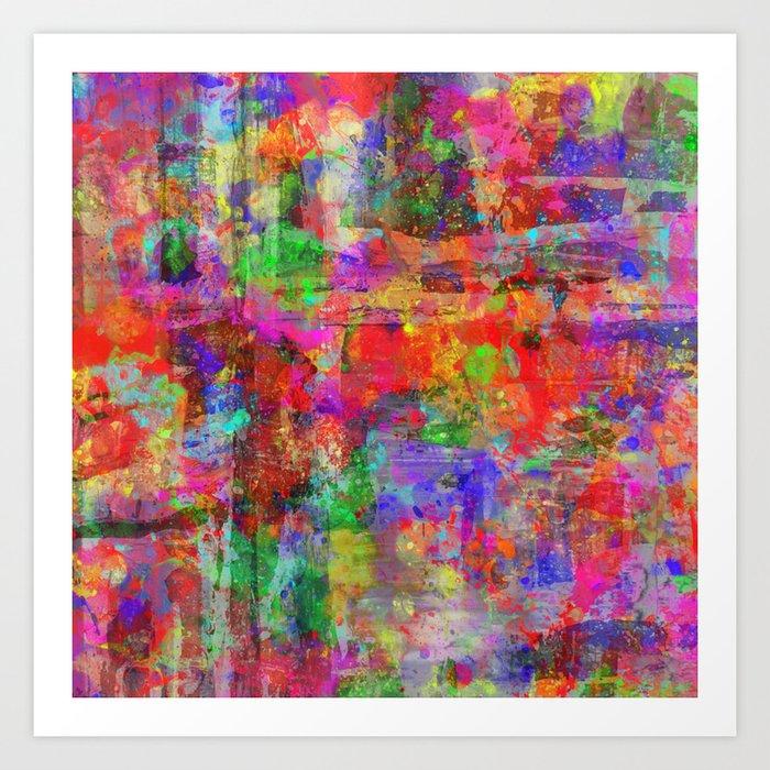 Vibrant Chaos Mixed Colour Abstract Art Print By Printpix