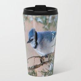 Hunkered Down (American Blue Jay) Travel Mug