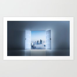 Over Looking The City In The Clouds Art Print