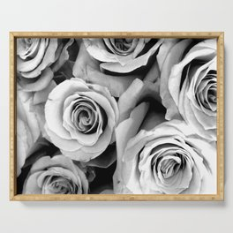 Black and White Roses Serving Tray