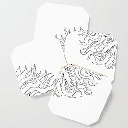 Helios Greek Sun God Head Drawing Black and White Coaster