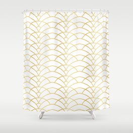 Art Deco Series - Gold & White Shower Curtain