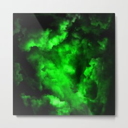 Envy - Abstract In Black And Neon Green Metal Print