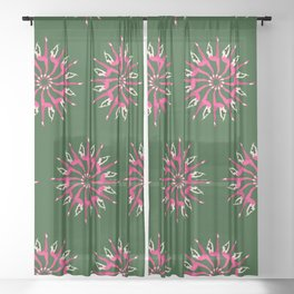 Yoga poses IV | Yoga asanas | Green and pink color palette Sheer Curtain