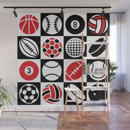 Sport Ball Checkerboard Wall Mural