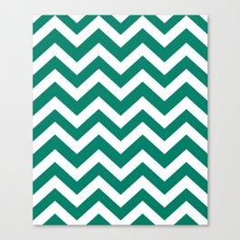 Generic viridian - green color - Zigzag Chevron Pattern Canvas Print