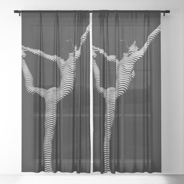 9494s-DJA B&W Slim Striped Nude Woman Elegant Yoga Pose Sheer Curtain