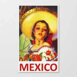 Vintage Mexico Travel Poster Canvas Print