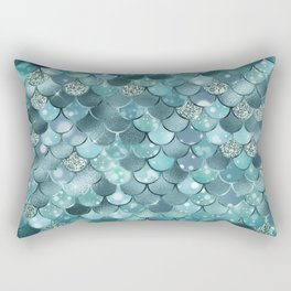 Mermaid Scales Aqua Turquoise Mermaid Pattern Rectangular Pillow