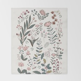 Winter Flowers II Throw Blanket