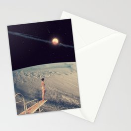 Leap Of Faith - Space Aesthetic, Retro Futurism, Sci Fi Stationery Cards