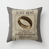 lord of the ring Throw Pillows featuring Lost Ring by le.duc
