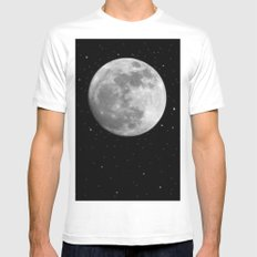 Moon and Stars MEDIUM White Mens Fitted Tee