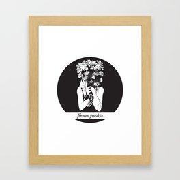 Flower Junkie - Black and White Digital Drawing of Girl holding Flowers Framed Art Print