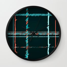Forest Green and Rusty Orange Plaid Wall Clock