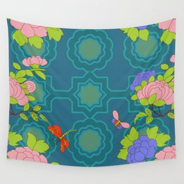 Nonya Peonies and butterfly Wall Tapestry