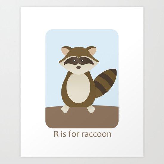 R is for Raccoon - Woodland Animals Art Print