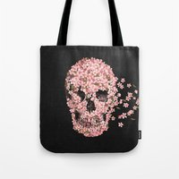 skull Tote Bags featuring A Beautiful Death  by Terry Fan