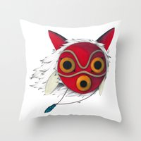 mononoke Throw Pillows featuring Mononoke Mask  by Puddingshades