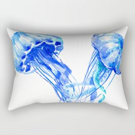 JellyFish, Blue Aquatic Artwork Rectangular Pillow
