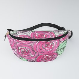 Bride Wedding Pink Roses Watercolor Fanny Pack