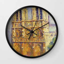 Paris, Notre Dame Cathedral, the Effect of Sunlight, French landscape by Francis Picabia Wall Clock