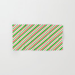 Christmas-Inspired Red, White, and Green Colored Striped Pattern Hand & Bath Towel