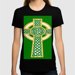 St Patrick's Day Celtic Cross White and Green T-shirt